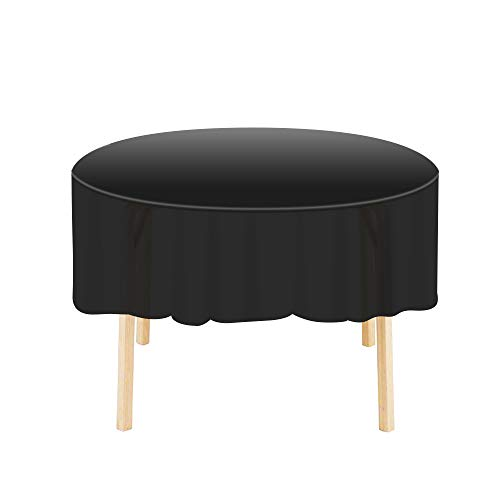 Etmury Plastic Tablecloth 6 Pack Disposable Round Table Covers 83 in. x 83 in. Indoor or Outdoor Parties Birthdays Weddings Christmas(Black)