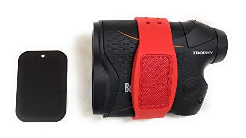 Less is more golf Banda magnética para telémetro (correa) (rojo), con placa metálica adhesiva