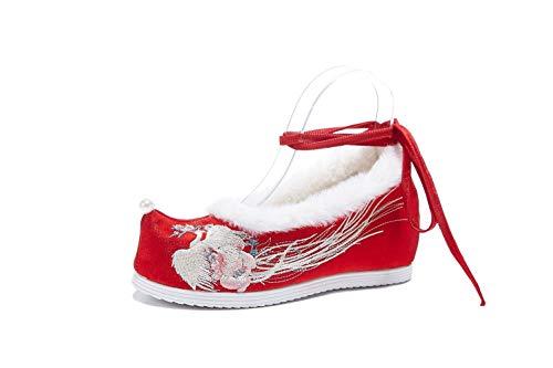 Lazutom - Zapatos de Hanfu para Mujer, Estilo Chino, cálidos, Bordados, Estilo...