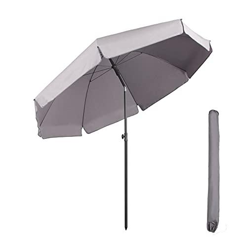 Sekey® Sonnenschirm 240 cm Marktschirm Gartenschirm Terrassenschirm Grau Rund Sonnenschutz UV25+