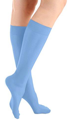 Blue Microfiber Knee High Skating Socks 2-Pair, One Size