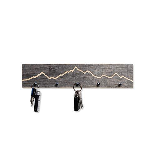 WOODS Schlüsselbrett Altholz mit Berg Kontur | handgefertigt in Bayern | mehrere Ausführungen zur Auswahl | Schlüsselkasten Schlüsselhalter Schlüsselleiste Deko-Berge | Kontur 40cm