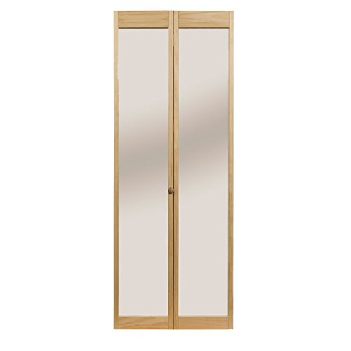 LTL Home Products 890726 Traditional Mirror Bifold Interior Wood Door, 30' x 80', Unfinished, 30'X80'