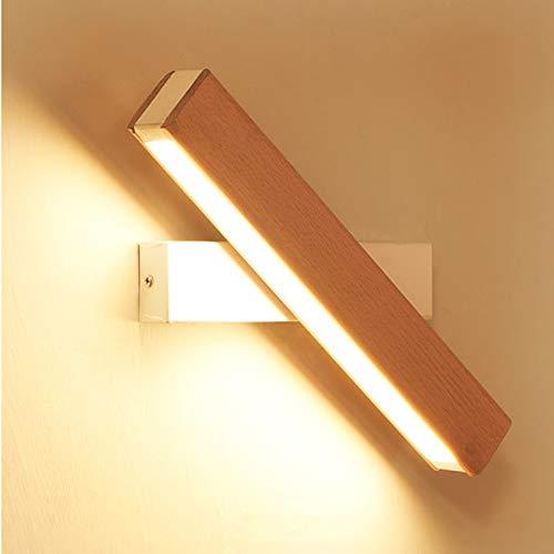 Applique da Parete Interno Moderno Lampada da Parete a LED 4W 21cm Bianco Calda Lampada a Muro In Legno Massello Girevole design per Camera da letto Decorazione