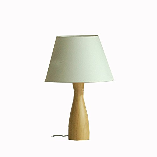 Lampe de Chevet en Chêne Simple Nordique Lampe de Table en Coton en Bois Massif Lampe de Bureau Minimaliste Lumière -E27 Haute 50cm Large et 30cm (Blanc de Lin)