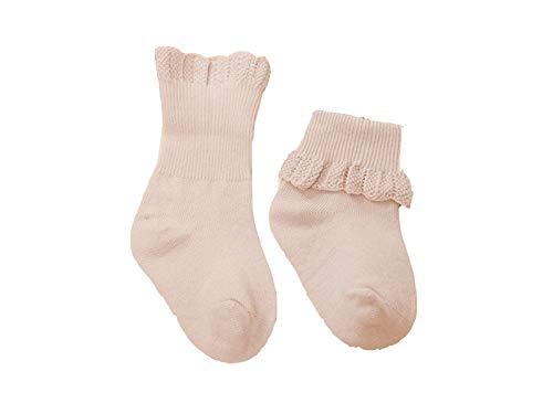 Bébé Cadeau doux enfants Coton Chaussettes enfants Printemps et Automne volants en dentelle Mid Chaussettes de tube (Kaki)