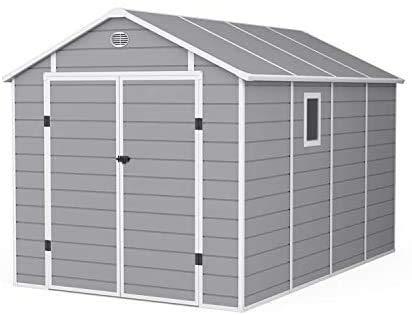 Cobertizo de jardín de plástico | trastero de jardín de plástico con kit de cimientos | almacenamiento al aire libre | 8 x 12 Yingchi Yingchi,8 * 12