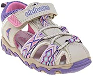 elefanten Girls -Toddler Colored Stripes Closed Toe Sandals with Flexible Thermo Rubber Outsole - for Everyday Activities