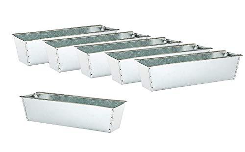 Macetero para palés europeos, 6 unidades, zinc en plata, jardinera para flores, balcón
