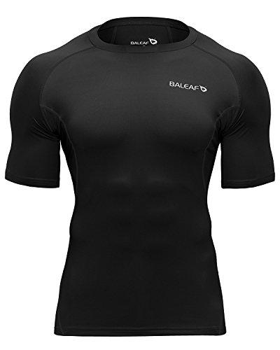 BALEAF Men's Short Sleeve Compression Shirts Gym Base Layer Compression Tops Color Black Size L