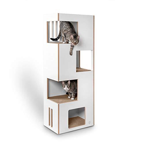 CanadianCat Company ® | Cat Castle L 2.0 | das Neue Kratzmöbel | Natur-weiß mit beigem Filz | der andere Kratzbaum !