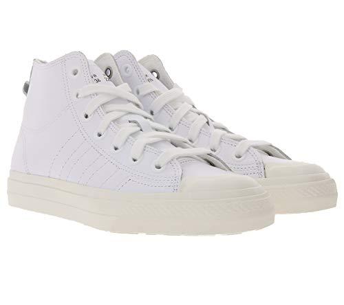 adidas Originals Nizza Hi RF High-Top-Sneaker lässige Damen Basketball-Schuhe mit Echtleder-Anteil Turnschuhe Sport-SchuheWeiß, Größe:36