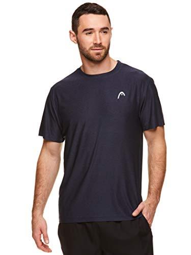 HEAD Men's Hypertek Crewneck Gym Tennis & Workout T-Shirt - Short Sleeve Activewear Top - Score Hypertek Navy Heather, Large