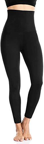 Anwell Yoga Leggings High Waist Leggins Lang Streetwear Sporthose Slim Fit Fitnesshose Leggins Sport Damen 7/8 Schwarz M