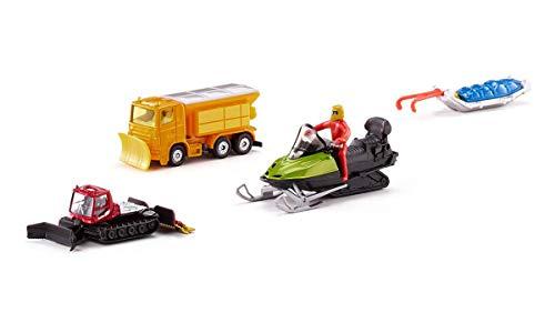 Siku 629000501 6290, Geschenkset - Winterset, Metall/Kunststoff, Multicolor, Spielkombination, Winterdienst-Fahrzeug, Pistenbully 600, Snowmobil