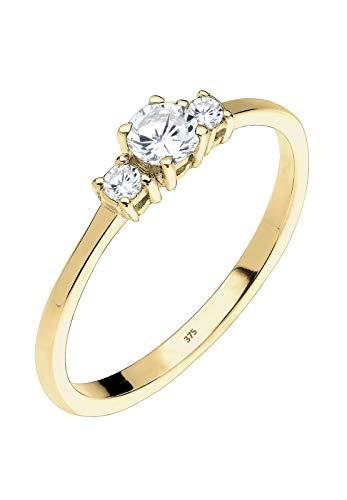 Elli Premium señorías-anillo de apilamiento de compromiso 375 oro plata 925 blanco zirconia corte brillante - 0606760115