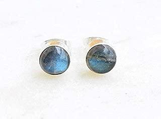 Grey Blue Fire Labradorite Stud Post Earrings 925 Sterling Silver Gemstone Earring 6 MM Round Gift