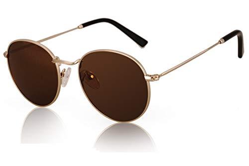 fawova Retro Rund Sonnenbrille Damen Polarisierte, Vintage Sonnenbrille Unisex für kleines Gesicht, 100% UV400, 50mm (Gold, Braun)