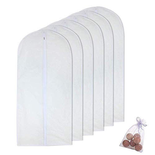 Hanging Garment Bag for Storage 60 x 120cm(24'' x 48'') Travel Long Suit Bag Sturdy Zipper Moth Proof Clothing Bag Pack of 6 with Moth Cedar Balls Pack of 6