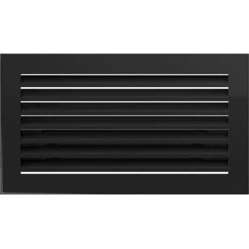 Warmluftgitter Ofen 17x30 cm Schwarz gebürstet Kaminofen Kamin Heizeinsatz