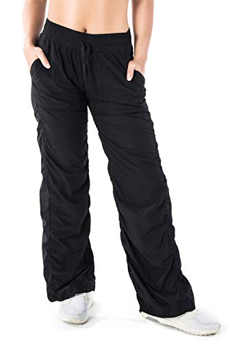 Yogipace Women's UV Protection Water Resistant 28'/30'/32'/34' Outdoor Lightweight Quick Dry Travel Cargo Dance Studio Pants Casual Active Pants, 34' Inseam, Black, XL