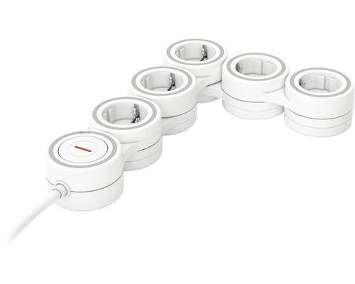 Steckdosenleiste SupraFlex 5-fach mit Schalter 3G1,5 mm² weiß 1,4 m - Max. Belastbarkeit ca. 3.500 W