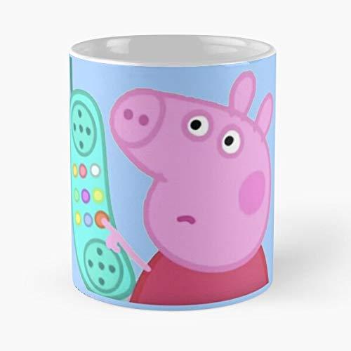 Taza de café de cerámica con diseño de animales de Peppa Phone Pig original para cumpleaños, comer alimentos y mordedura de John Best de 315 ml