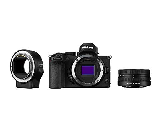 Nikon Z50 + Z DX 16-50VR + FTZ + Lexar SD 64GB Fotocamera Mirrorless, CMOS DX Da 20.9 MP, Sistema Hybrid-AF, Mirino Elettronico (EVF), LCD 3,2\