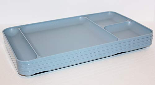 Tupperware Set of 4 Vintage Divided Dining Trays 15 x 9 Plates in Country Blue