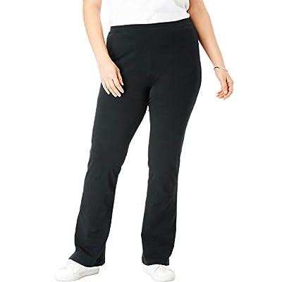 Woman Within Women's Plus Size Tall Stretch Cotton Bootcut Yoga Pant - 3X, Black