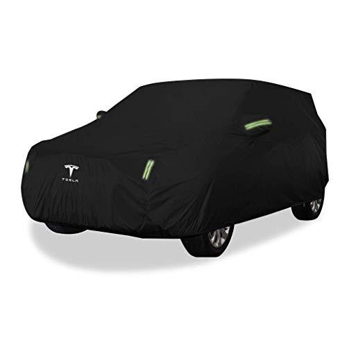 JJYY Cubierta para automóvil/Compatible con Tesla Model 3 / Cubierta Exterior de Tela Oxford Gruesa para vehículos Cubiertas de Nieve para Parabrisas automotrices para Todo Clima A Prueba de po 🔥