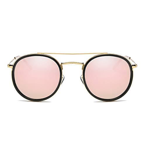 CEyyPD Gafas de sol polarizadas con marco redondo de metal para mujer, con textura y borde de protección UV400, marco dorado, lente rosa