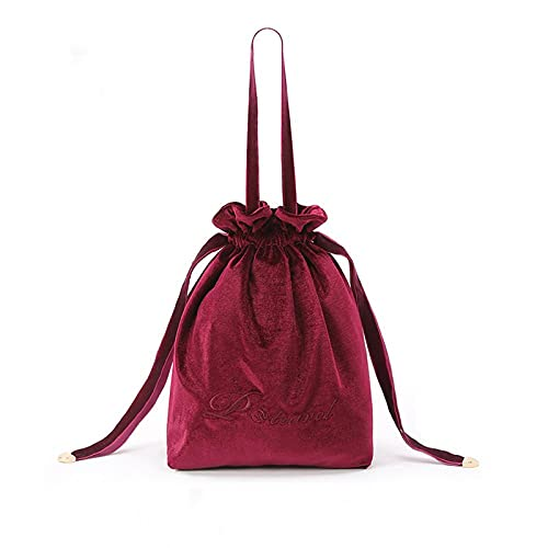 HJF Velvet Girl Cosmetic Bag Light Luxury Travel Drawstring Bolso De Almacenamiento De Bolsillo D