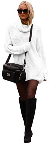 Mikos Damen Strickpullover Sweater Rollkragen Pullover Jumper Strick Pulli Oversize (648) (Weiß)