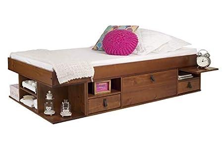 Memomad Cama Funcional Bali 90x190 cm - Estructura con Mucho Espacio de almacenaje y cajones, Ideal para dormitorios pequeños - Cama de Madera Maciza de Pino - Precio Incl. somier de Madera
