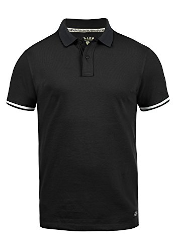 Blend Prato Herren Poloshirt Polohemd T-Shirt Shirt Mit Polokragen Aus 100% Baumwolle, Größe:M, Farbe:Black (70155)