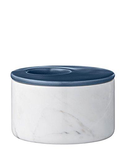 Bloomingville Teelichthalter aus Marmor, w/Navy Ceramic Top Ø11xH7 cm