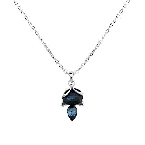 HLY Einfache Temperament Halskette, Halskette Female Fashion Blue Crystal Anhänger Temperament Schlüsselbein Kette Kleintierzubehör