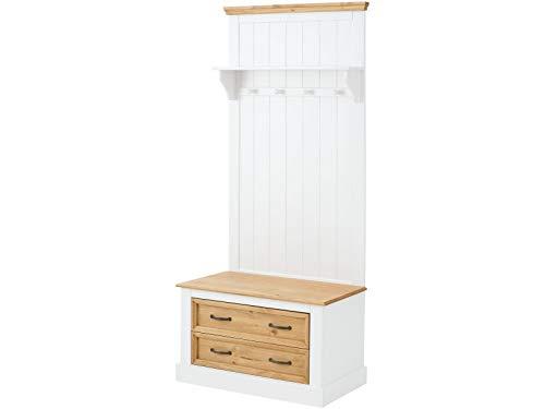 Loft 24 A/S Kompaktgarderobe Dielenschrank Garderoben-Set Flurmöbel Landhausstil Kiefer Massivholz Sitzbank 2 Schubladen 1 Ablage weiß & Natur