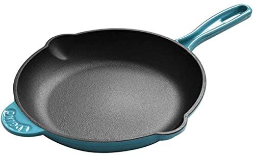 Wok Padella Antiaderente Padella 25 cm smalto ghisa in ghisa rotonda antiaderente padella padella sana sana frittura padella (Color : Blue)