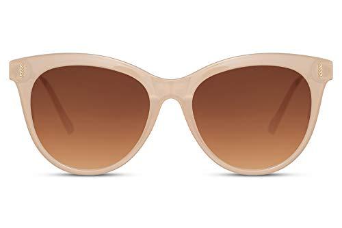 Cheapass Gafas de sol Tamaño Normal Lechosas Montura Mariposa con Lentes Marrones Graduales Negras Patillas Metálicas con protección UV400 para Mujeres