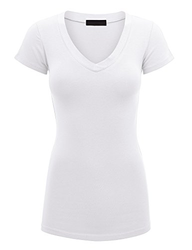 Lock and Love LL WT1606 Womens Basic Fitted Short Sleeve V-Neck T Shirt S White