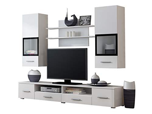 Mirjan24 Moderne Wohnwand Snow Anbauwand, Vitrine, TV Lowboadr, Wandregal, Wohnzimmerschrank, Schrankwand, Wohnzimmer-Set, Möbel (Weiß/Weiß + Schwarzer Siebdruck)