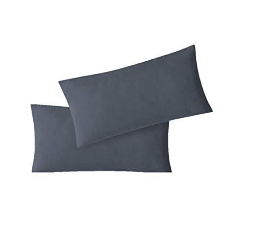 EXKLUSIV HEIMTEXTIL Fundas de Almohada de Jersey 2 Pack económico con Cremallera 40 x 60 cm Antracita