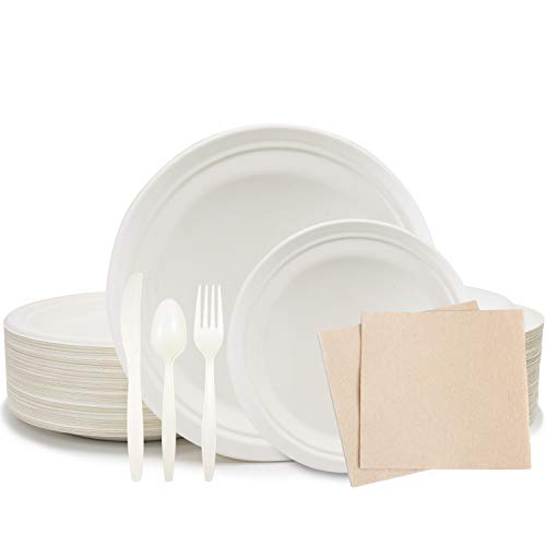 375 Piece Disposable Dinnerware Set, Biodegradable 9In And 7In Compostable Eco Friendly Plates, Plus 100 Napkins Eco Friendly Party Supplies, Utensils