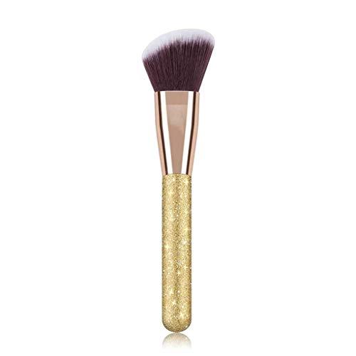 XZJJZ 1 Unids Oro Cepillo Mango Pelo Sintético Contorno Rubor Suelto Polvo Crema Fundación Sola Maquillaje Cepillo Cosméticos Herramientas