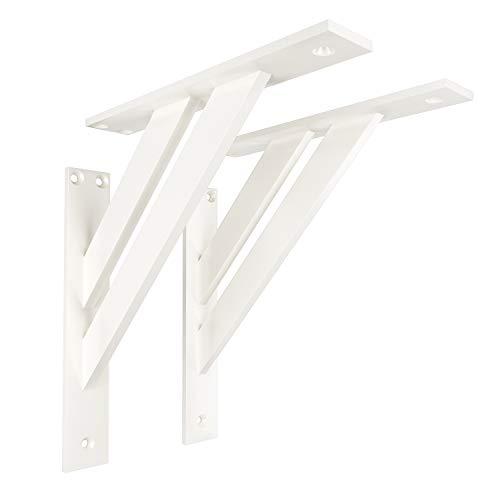 2 x sossai® Soportes de diseño para balda FSHR | Dimensiones: 240 x 240 mm | Color: blanco | escuadra sujeción de pared para balda, soporte de estante | Material: Aluminio