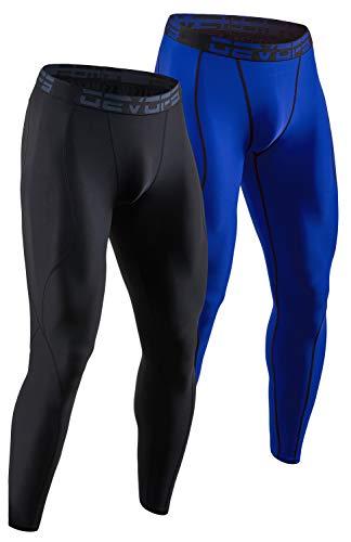 DEVOPS Men's 2 Pack Compression Cool Dry Tights Baselayer Running Active Leggings Pants (Small, Black/Blue)