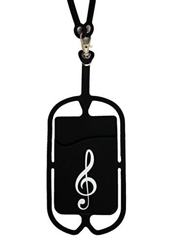 Handy-Schlüsselband, kompatibel mit iPhone, Galaxy & den meisten Smartphones, Silikon-Schutzhülle mit Kartenfach, Universal, Musik