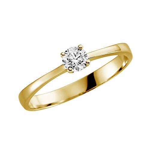 Juwelier Rubin Damen-ring Verlobungsring Gelbgold Weißgold Weissgold 585 Gold 14 Karat Stein Zirkonia Brillantschliff Solitär Heiratsantrag Goldring Geschenke (14 Karat (585) Gelbgold, 51 (16.2))